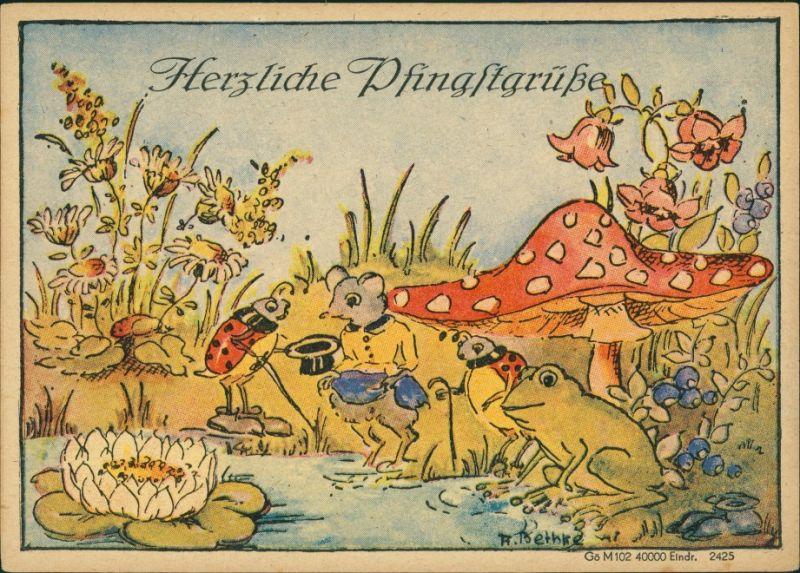 Ansichtskarte  Künstlerkarte Teich - Fliegenpilz Pfingsten 1949
