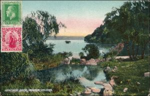 Postcard Rotorua Mokoia Island: Hinemoa's bath 1923