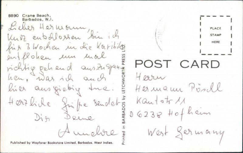 Postcard Saint Philip Crane Beach, W.I. 1966 1