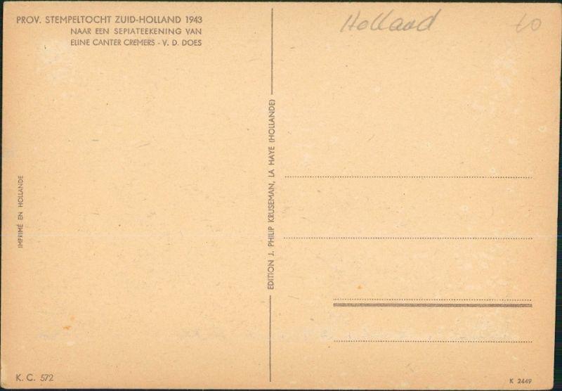 Naaldwijk-Westland STEMPELTOCHT ZUID-HOLLAND 1943 NAAR EEN SEPIATEEKENING 1943 1