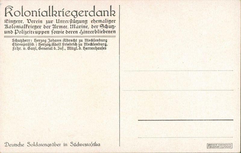 Deutsche Soldatengräber Südwestafrika, Weltkrieg, Kolonialkriegerdank 1914 1