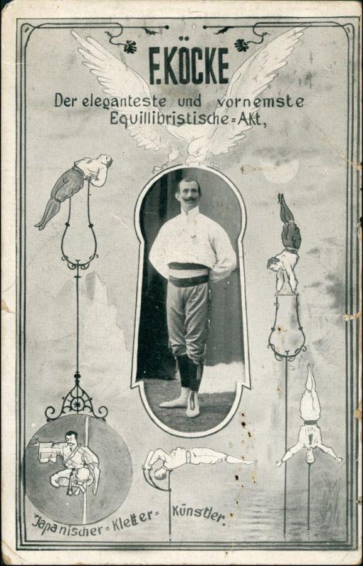Ansichtskarte  F.Köcke - japanischer Kletterkünstler Mehrbild 1908 0