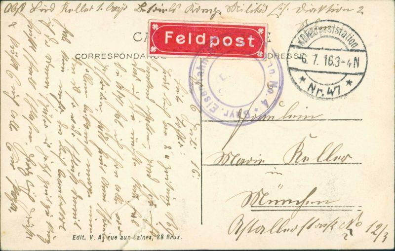 Brüssel Bruxelles Arcade  Cinquantenaire, 1. WK    /KD  Nr. 47  AK Brüssel 1916 1