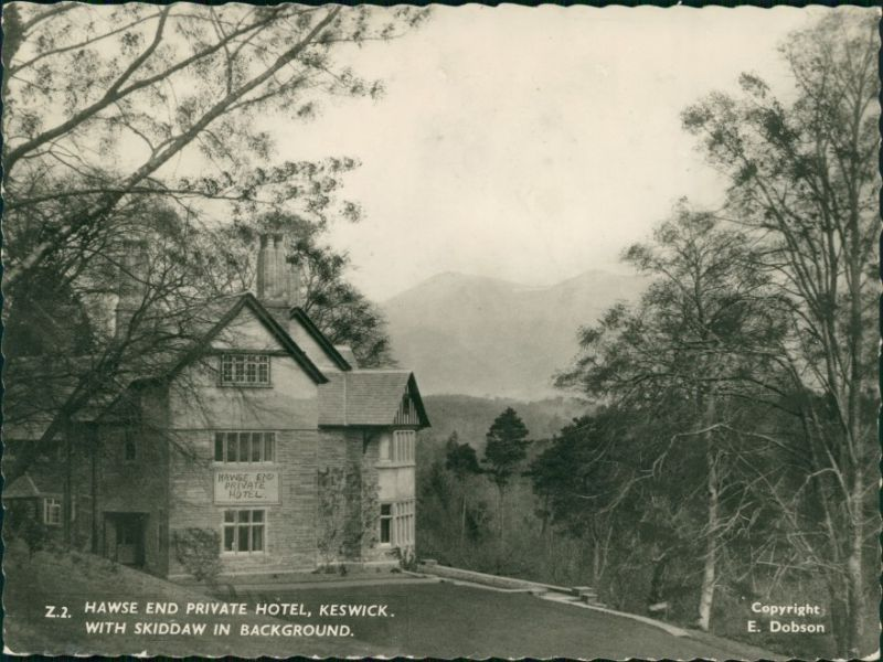 Keswick (Cumbria) Hawse end private Hotel, with Skiddaw in background 1959