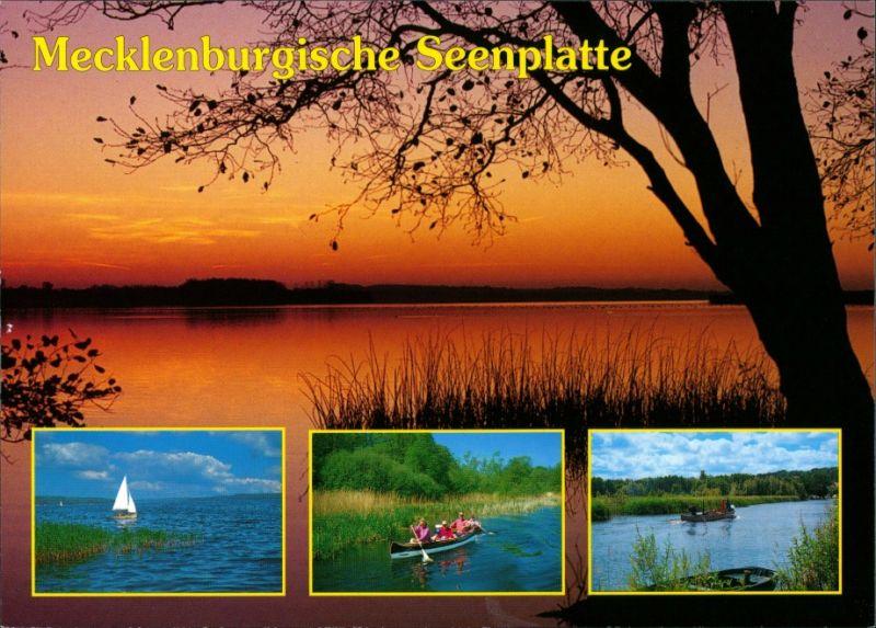 .Mecklenburg-Vorpommern Mecklenburgische Seenplatte Abendrot, Kanufahrt, Segelboot 2000