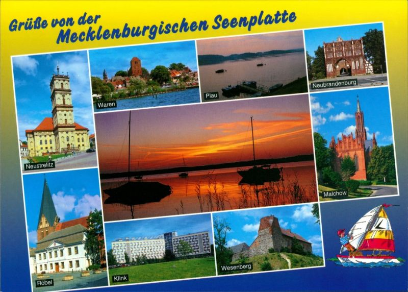 .Mecklenburg-Vorpommern Grüße von Mecklenburgische Seenplatte, Abendrot, Röbel, Klink, Malchow 2000
