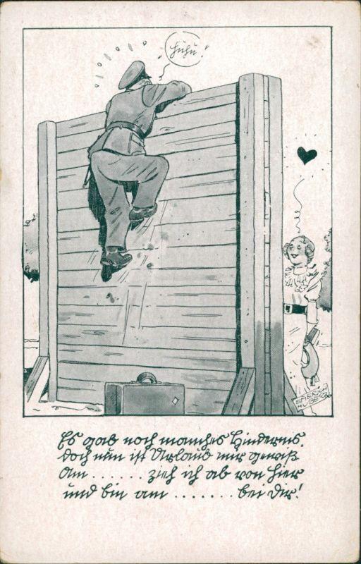 Militär Scherzkarten, Soldat  Hindernisklettern Frau wartet Ziel dahinter 1938