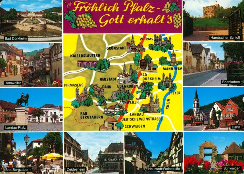 Ansichtskarte Landkarte Dahn Schweigen Fröhlich Pfalz - Gott erhalt's 1980
