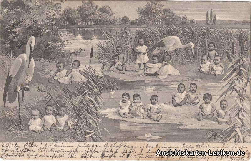 Ansichtskarte  Spaßkarte: Babys und Störche 1905