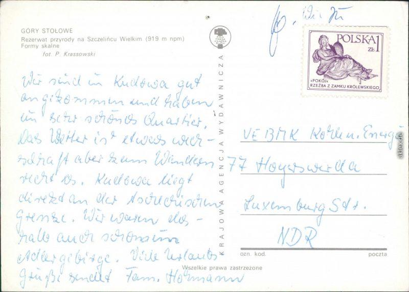 Postcard Carlsberg Karłów Gory Stolowe/Heuscheuergebirge 1975 1