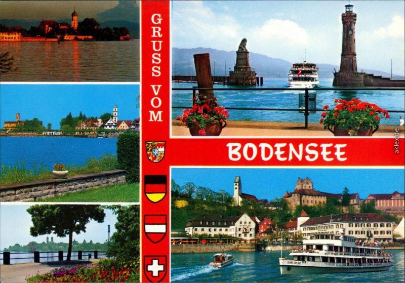 Ansichtskarte  Rund um den Bodensee mit Hafen, Kirche, Fähre uvm. 1976 0