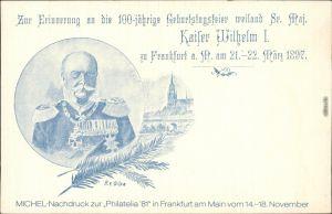 Ganzsache Frankfurt Privat-Brief-Verkehr Kaiser Wilhelm I. - 100-jährige Geburtstagsfeier 1897/1981