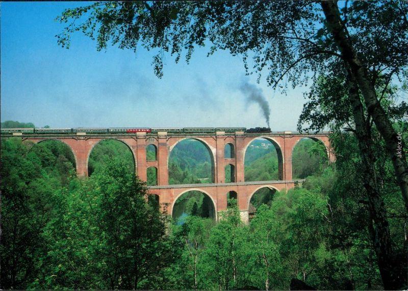 Jocketa-Pöhl Elstertalbrücke, Dampflokomotive 38 205 mit Sonderzug 1995 0