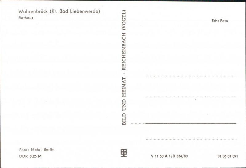 Ansichtskarte Wahrenbrück-Uebigau-Wahrenbrück Partie am Rathaus 1980 1