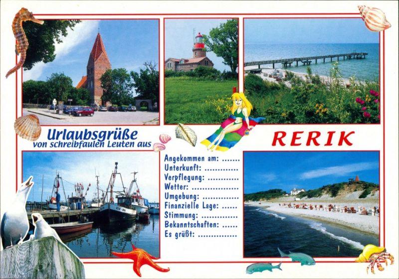 Rerik Parkplatz an Kirche, Leuchtturm, Strand, Fischerboote im Hafen 2000 0