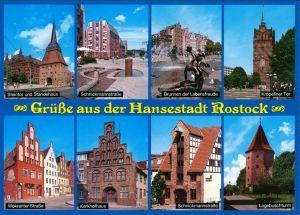 Ansichtskarte Rostock Grüße aus der Hansestadt: Häuser, Straßen, Tore 2005