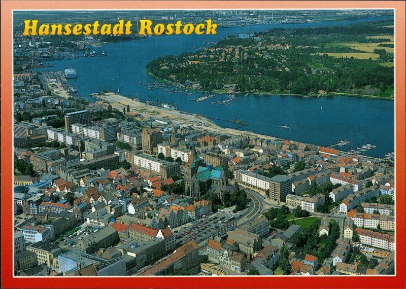 Ansichtskarte Rostock Luftbild Stadt, Hafen, Schiffe 1990