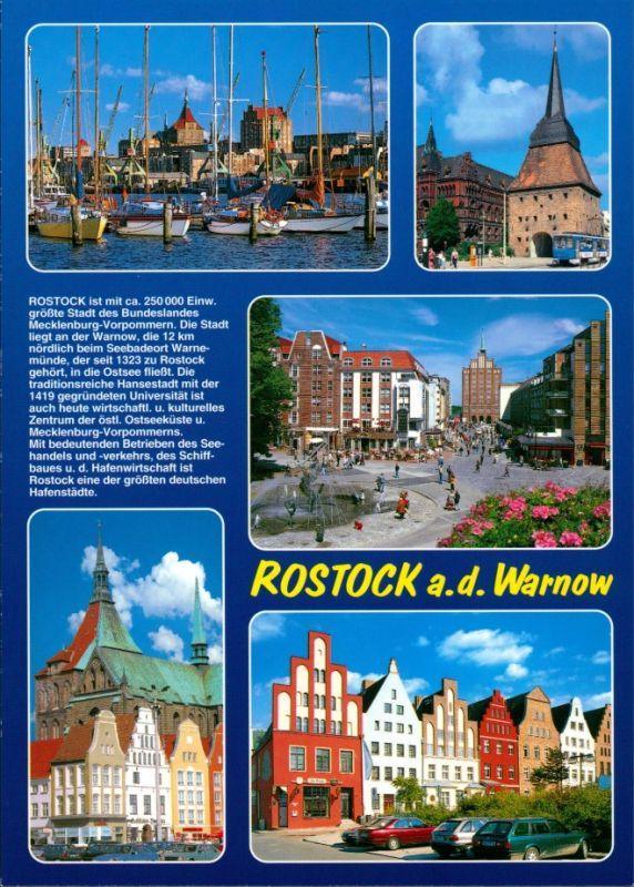 Ansichtskarte Rostock Boote im Hafen, Straßenbahn, Autos, Plätze 1990 0