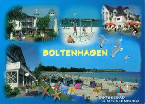Ansichtskarte Boltenhagen Strand mit Badegästen, Häuser 1995