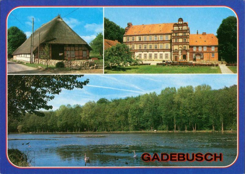 Ansichtskarte Gadebusch Rathaus, Möllin, Schloss, Am Burgsee 2001 0