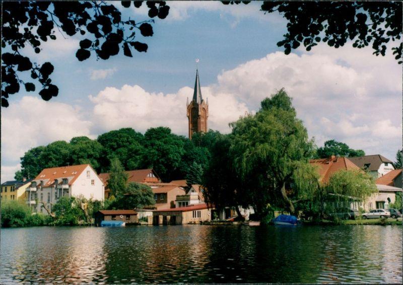 Feldberg-Feldberger Seenlandschaft Partie am Haussee,  Blick Kirche 2005 0