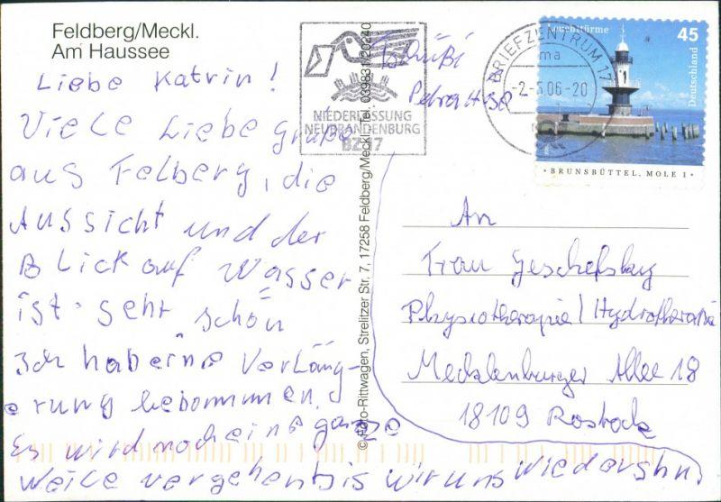 Feldberg-Feldberger Seenlandschaft Partie am Haussee,  Blick Kirche 2005 1