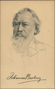 Ansichtskarte  Porträt, Zeichnung, JOHANNES BRAHMS 1918