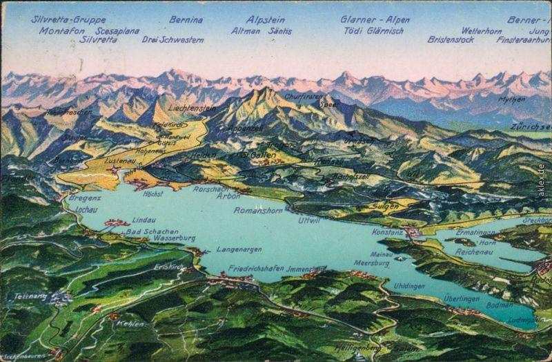 Ansichtskarte  Landkarten-Ansichtskarte - Bodensee 1922 0