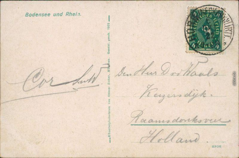 Ansichtskarte  Landkarten-Ansichtskarte - Bodensee 1922 1