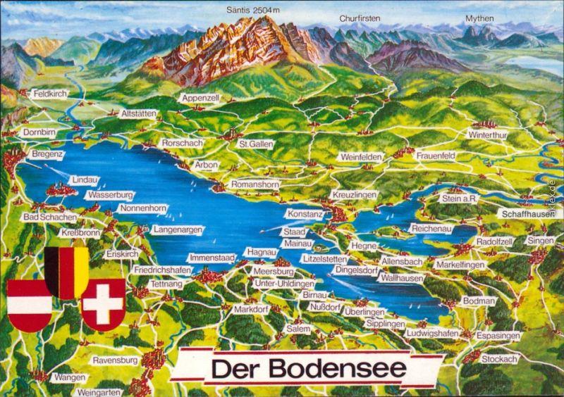 Ansichtskarte  Landkarten-Ansichtskarte vom Bodensee 1995