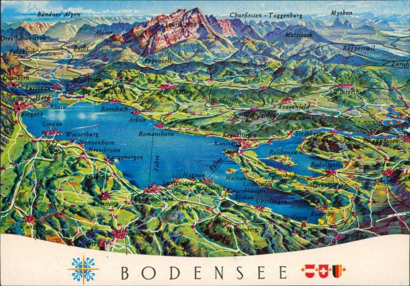 Ansichtskarte  Reliefkarte des Bodensees 1980