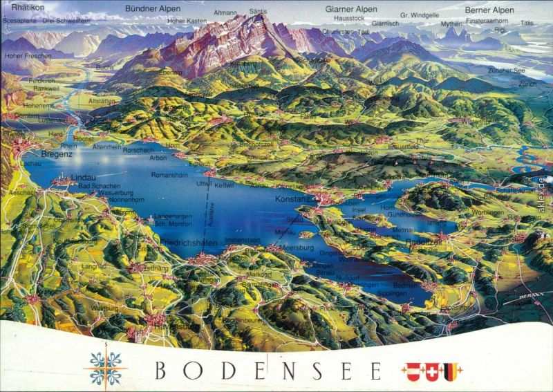 Ansichtskarte  Reliefkarte des Bodensees 1995