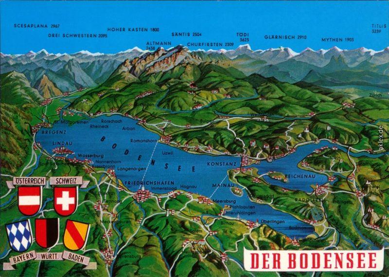 Ansichtskarte  Landkarten-Ansichtskarte: Bodensee 1995