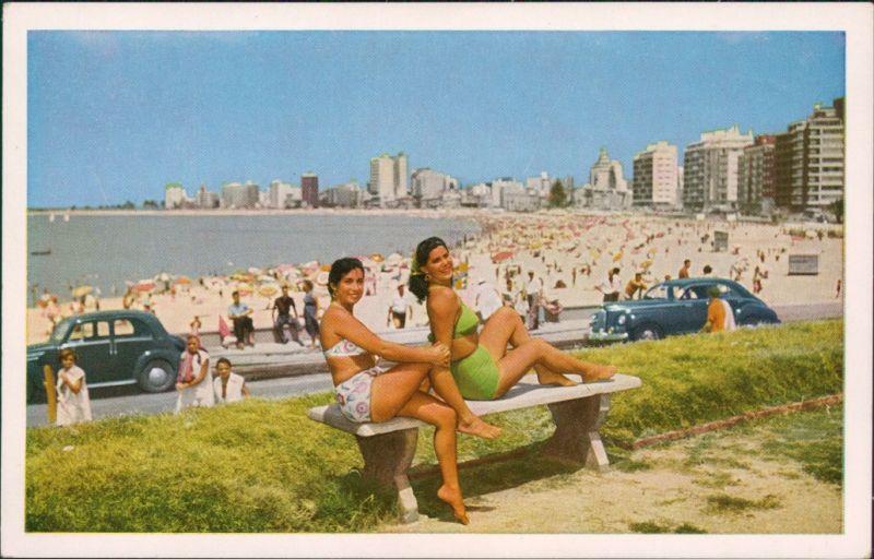 Postcard Montevideo Frauen im Bikini - Playa Procitos 1965