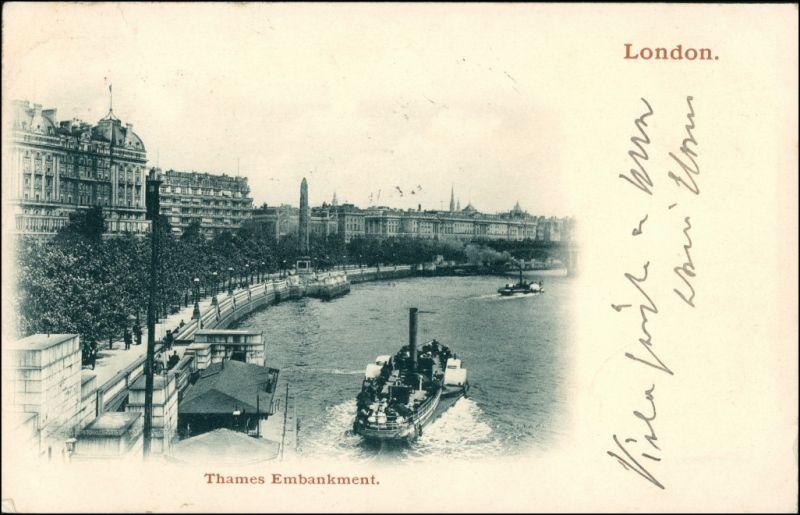 London River Thames / Themse Embankment Schiffsanlegestelle 1908