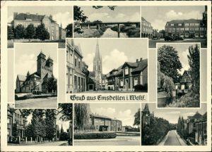 Emsdetten Mehrbildkarte mit Strassen, Plätzen und Gebäuden 1958