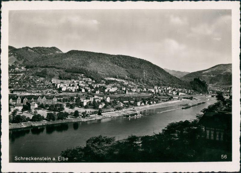 Schreckenstein (Elbe Aussig S Ústí nad Labem   Panorama-Ansicht Vogelschau 1932