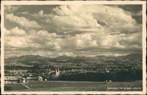 Kempten (Allgäu) Gesamtansicht des Ortes, Wolken-verhangene Ansicht 1938