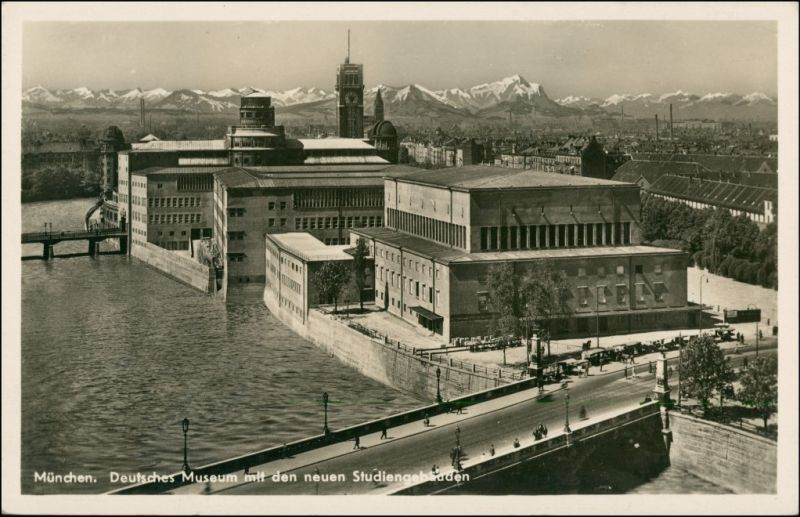 München Deutsches Museum aus der Vogelschau, Fernblick zu den Alpen 1934