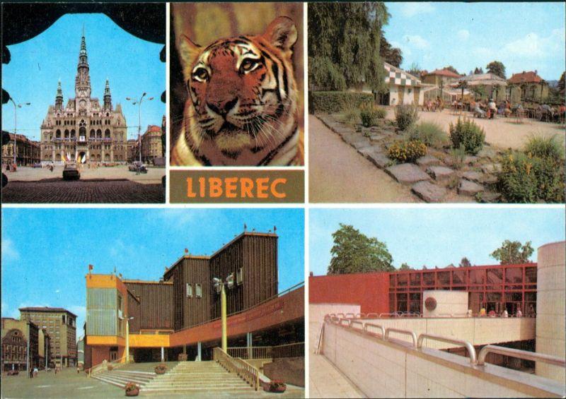 Reichenberg Liberec Radnice, Záběr ze ZOO,  zahrada, Plavecký stadion 1985