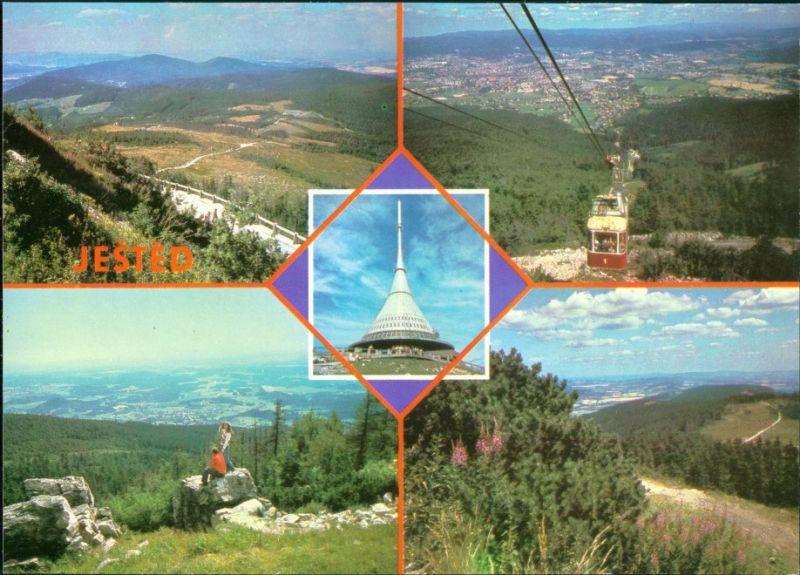 Postcard Reichenberg Liberec Ještěd/Jeschken, Seilbahn 1989