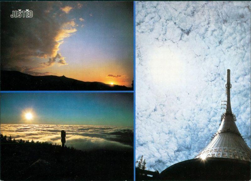 Postcard Jeschken Ještěd Seilbahn Jeschken mit Panorama-Ansicht 1998