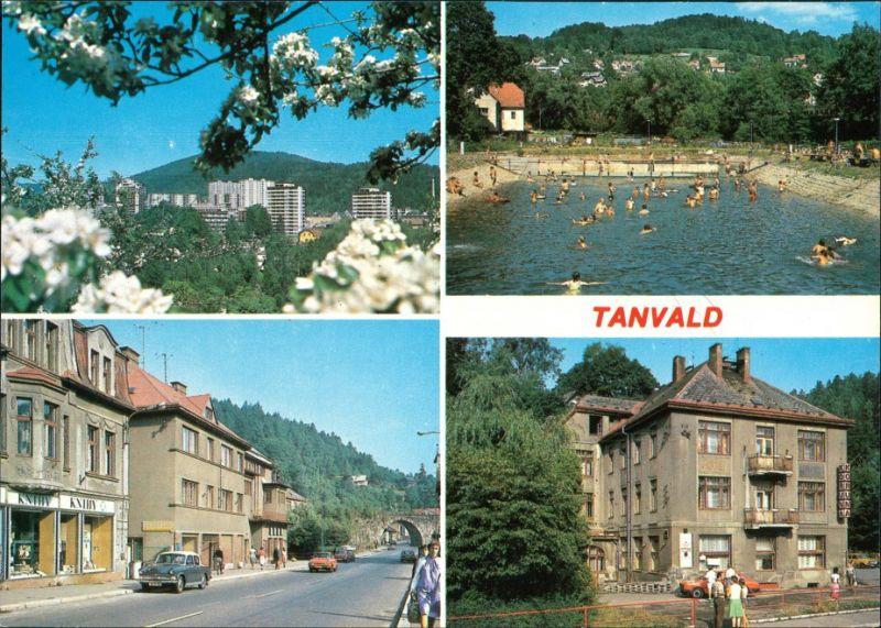 Postcard Tannwald Tanvald Autos Schwimmbad 1990