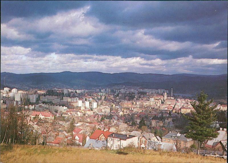 Gablonz (Neiße) Jablonec nad Nisou Panorama auf die Stadt, bewölkt 1989