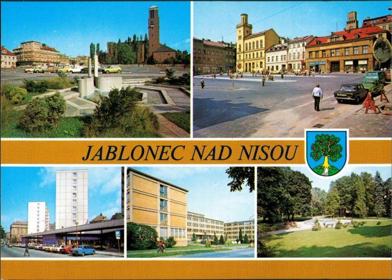 Gablonz (Neiße) Jablonec nad Nisou 4 Bild Karte, Hochhäuser, Markt, Autos 1994