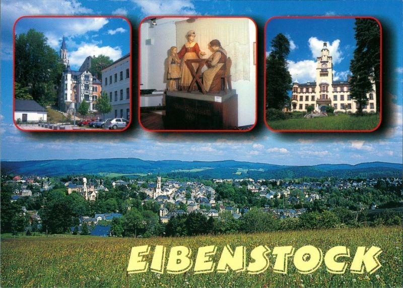Eibenstock Markt, Holzschnitzwerk Clara Angermann, Rathaus, Panorama 1995