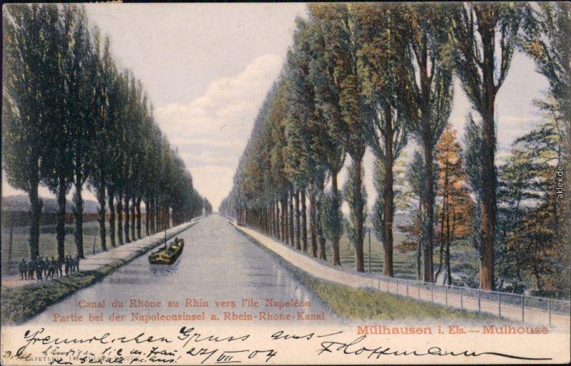 Mülhausen Mulhouse Partie bei der Napoleoninsel am Rhein-Rhone-Kanal 1904