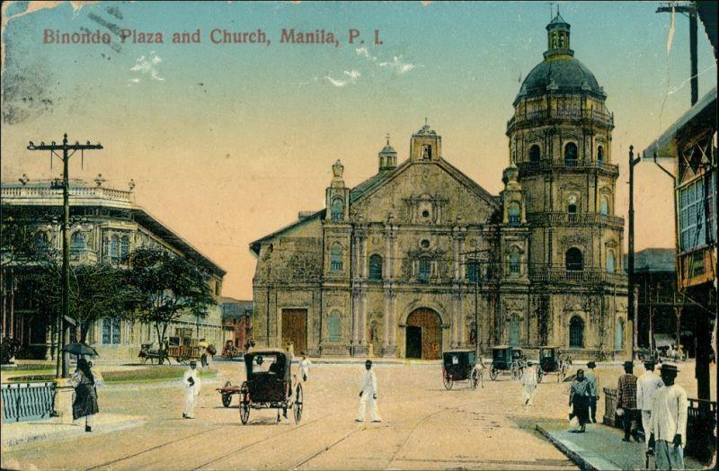 Postcard City of Manila Biondo Plaza 1914