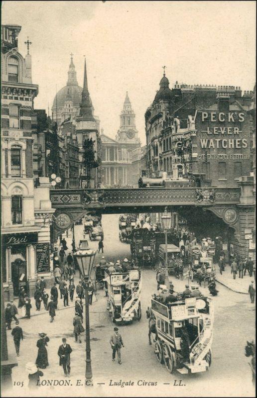 London Ludgate Circus/Verkehr / Traffic, Bus, Geschäftiges Treiben 1908