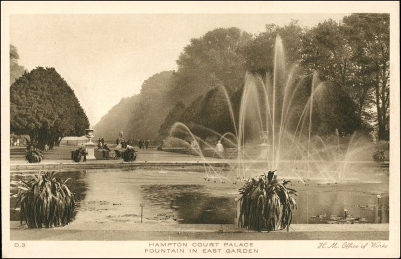 Postcard London Fountain East Garden/Park mit Springbrunnen 1927